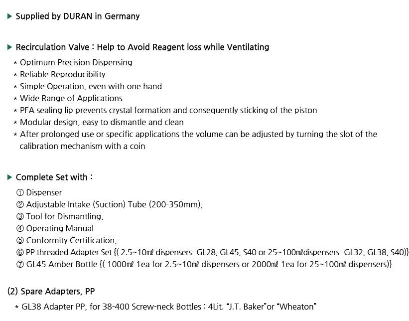 DURAN 292151701 Dispenser PRO mit R/ückdosierventil variables Volumen 5,0-50 mL